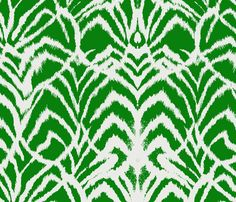 Wild Ikat Kelly Green-ed fabric by ninaribena on Spoonflower - custom fabric