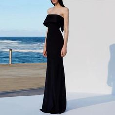 Black party dress strapless evening dress mermaid long prom dress backless formal dress