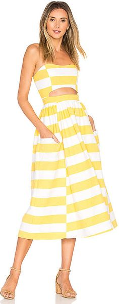 b13bc0049d9 Shop for Mara Hoffman Cut Out Midi Dress in White   Yellow at REVOLVE. Redheaded  Mom · Summer Party Dresses
