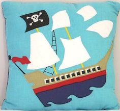 Pirate Ship Decorative Throw Pillow for Boys #kidsroomstore $29.99