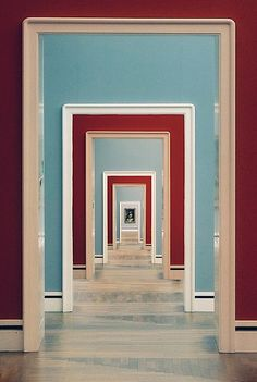 """A Thousand Doors"" by Phillip Klinger. Red and celadon blue enfilade at the Neue Pinakothek: an art museum in Munich, Germany - More wonders at www. Arte Lowbrow, Pattern Photography, Photography Composition, Abstract Photography, Color Photography, Life Photography, Elements And Principles, Art Area, Minimalist Photography"