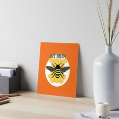 Cute Bee Happy Fun Honeycomb Bumble Bee Graphic / Bee Happy fun play on words with an illustration of a honey bee on a honeycomb background in lovely tones of yellow, orange, black and white • Also buy this artwork on wall prints, apparel, stickers, and more.