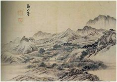 (Korea) 해산정 in Mt Geumgang by Gyeomjae Jeong Seon (1676-1759). ca 18th century CE. color on paper.