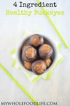 All you need is 4 simple ingredients to makes these healthy buckeyes with very little added sugar! Vegan, gluten free and grain free. Easy no bake recipe.