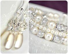 Bridal Jewelry SET, Art Deco Bridal Jewellery SET, Bridal Cuff Bracelet and Earrings SET, Swarovski Elements. $127.00, via Etsy.