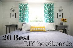 Best DIY Headboards @Macie Six Khan - solution for your new room?? window at head of bed... fun drapes (check target!!) and small headboard...