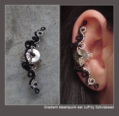 Gradient steampunk ear cuff by bodaszilvia