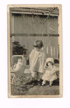 C1922 Original Photo Cute Girl with Wicker Pram and Madam Alexander Doll | eBay