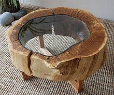 Hollow Log slice Driftwood Coffee table