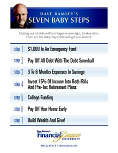 Doing the 7 Baby Steps is the best way I have found to get my finances together.