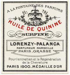 Old Design Shop ~ free digital image: vintage French label, Huile de Quinine