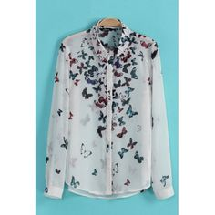 AUD12.90Fashion Woman Turndown Collar Long Sleeve Print Chiffon Shirt