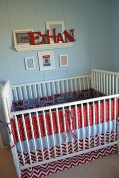 Baby Nursery / Red Chevron & Tractors /        My lil man's room. A little chevron for mommy & IH tractors for him & daddy ;)