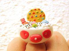 Kawaii Food Ring Cookie Ice Cream Panda Candy