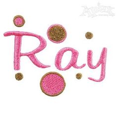 Ray Embroidery Font Set Includes: Upper 1.5 inch, Lower Case .5 Inch with Polka Dot Designs.