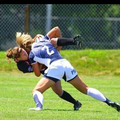 """And people say soccer is a sport for sissies...id like to see you taken down like that"" - somehow this is going around as a soccer picture?? People are failing to see that the girl being tackled is holding a rugby ball..."