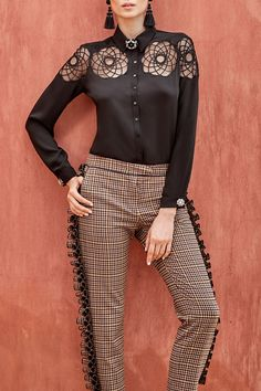 The SESAME is a black crepe button down shirt in a relaxed fit featuring a geometric floral design created within an embroidered tulle inlay. White Shirts, Designer Dresses, Floral Design, Tulle, Button Down Shirt, Dresses For Work, Black And White, Fit, Embellishments