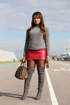 www.streetstylecity.blogspot.com  Fashion inspired by the people in the street ootd look outfit sexy high heels legs woman girl babe wear wearing leather skirt miniskirt pantyhose otk knee thigh boots