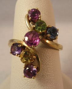 1.15CT RUBELLITE CITRINE PERIDOT TOPAZ AMETHYST ALEXANDRITE 14K GOLD  RING S5.25 #MOTHERS