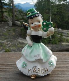Vintage 1957 Geo. Z Lefton March Irish St Patricks Day Angel Figurine 1887J Mint