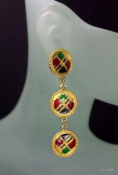 Peach or Off White Enameled Spike Dangle Earrings Salmon Vintage Long Dangle Earrings Vintage 80/'s Enameled Gold Moon Dangle Earrings