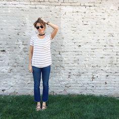 Fashion Blogger ONE little MOMMA breaks down some Everyday Style Summer Fashion ideas. Including: denim vest, distressed denim, espadrille wedges, pencil skirt