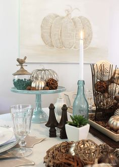 Pretty neutral coastal fall tablescape and a vintage book pages pumpkin! Thanksgiving Table Settings, Thanksgiving Tablescapes, Thanksgiving Decorations, Table Decorations, Centerpieces, Coastal Fall, Coastal Decor, Coastal Colors, Porch Decorating
