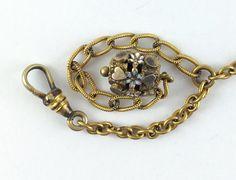 Antique Victorian Watch Chain & Enamel Fob by AntiqueJewelryForFun
