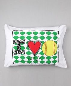 Personalized I Love Softball Pillow Case