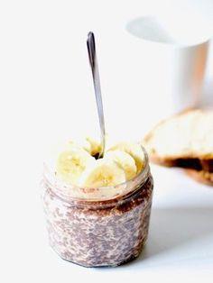 Porridge avoine, chocolat, graines de chia, banane ( à faire la veille)