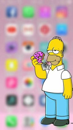 Homer Simpson from The Simpsons TV Show iPhone Wallpaper with Blurred / Blurry Background
