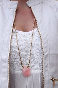 Long Pink Stone Boho Necklace | UOIonline.com: Women's Clothing Boutique