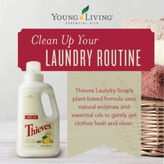 Young Living's Thieves® Laundry Soap naturally washes your clothes, cleaning them without any chemical or synthetic residue and the combined power of essential oils. Thieves Essential Oil, Essential Oils Cleaning, Frankincense Essential Oil, Therapeutic Grade Essential Oils, Essential Oil Uses, Young Living Thieves, Young Living Oils, Young Living Essential Oils, Young Living Business