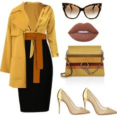 A fashion look from May 2017 featuring petite shirts, yellow coat and zip skirt. Church Fashion, Work Fashion, Fashion Looks, Casual Skirt Outfits, Work Outfits, Business Outfits, Business Casual, Weekend Dresses, Mode Style