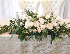 Bride and groom table Top Table Flowers, Table Flower Arrangements, Wedding Table Flowers, Wedding Table Centerpieces, Wedding Flower Arrangements, Floral Centerpieces, Rose Wedding Bouquet, White Wedding Bouquets, Floral Wedding