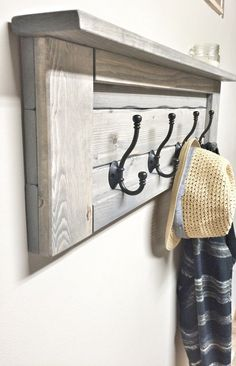 Wood grey entryway coat rack with hooks, rustic home decor, bathroom towel Rustic Wooden Shelves, Wooden Wall Hooks, Wooden Rack, Wooden Diy, Coat Hooks On Wall, Shelf Hooks, Wooden Pallet Projects, Wooden Pallets, Rustic Furniture
