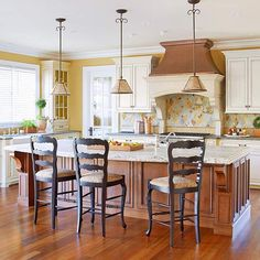 If you use a variety of colors and finishes in your kitchen, a colorful backsplash is a great way to pull the looks together: http://www.bhg.com/kitchen/backsplash/colorful-kitchen-backsplash-ideas/?socsrc=bhgpin030414pullittogether&page=16