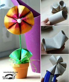 cute flower craft from toilet paper rolls