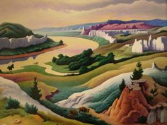 By Thomas Hart Benton. Some of his most famous work are in murals in the Missouri State Capitol in Jefferson City and the Truman Museum in Independence, MO.