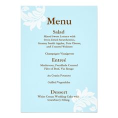 Damask Wedding Menu Tiffany Damask Wedding Menu Card