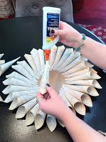 Paper Wall Flower - Gluing cones - Stein Your Florist Co.