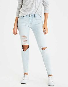 Shop at American Eagle for Jeggings that look as good as they feel. Browse our jeggings in different rises (from low to highest), in different washes and stretch levels. Ripped Jeans Look, White Jeans, Clothes For Sale, Clothes For Women, High Waist Jeggings, Mens Outfitters, Eagle Outfitters, Curvy Jeans, Mom Jeans