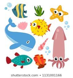 ocean vector collection design Oceans Series, Fish Art, Baby Shark, Wicca, Nursery, Classroom Ideas, Pattern, Crafts, Animals