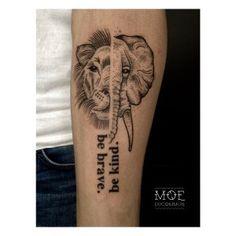 Tattoo The Vegan World-Traveller -- Vegan Tattoo, Elephant, Lion, Be Brave Be Kind
