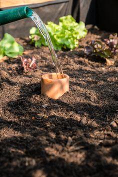 Hochbeete bewässern - mit Gefäßen aus Ton geht das ganz einfach und ohne viel Aufwand. Reduziert den Wasserverbrauch und die Gießintervalle ganz erheblich.