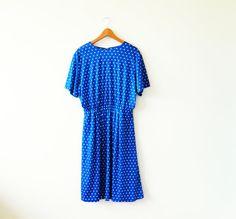 Sweet Blue Polka Dot Vintage Dress / Vintage Day Dress / Retro Polka Dot Dress / Royal Blue Vintage Dress M-L