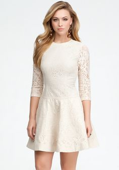 Lace 3/4 Sleeve Fit & Flare Dress