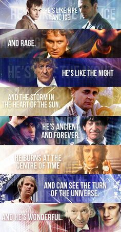[Best Doctor Who image I've seen in a while. Mostly on the merit that it didn't forget the original series exists. Doctor Who Quotes, Out Of Touch, Don't Blink, Torchwood, Bad Wolf, Thats The Way, Time Lords, David Tennant, Dr Who