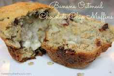 banana muffins, banana oatmeal muffins, muffin recipe, chocolate chip muffins
