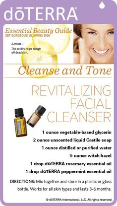 Try Rosemary and Peppermint Essential Oil in this recipe for a facial cleanser, so revitalizing! You can use it on all skin types and it last from 3-6 months. www.hayleyhobson.com